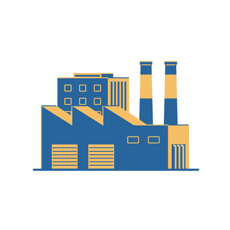 Factory building on a white background. Plant with pipes. Flat style icon. Vector illustration. Banque d'images - 124137165
