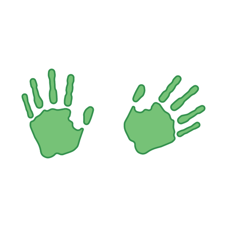 Green prints of the right and left hand. Vector illustration. Ilustrace