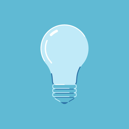 Lamp on a blue background. Bulb. Flat style icon. Vector illustration.