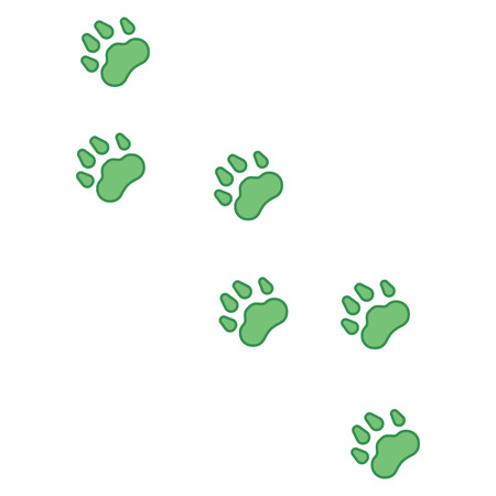 The prints of the paws of an animal, cat, dog, bear, pet. Path. Vector illustration