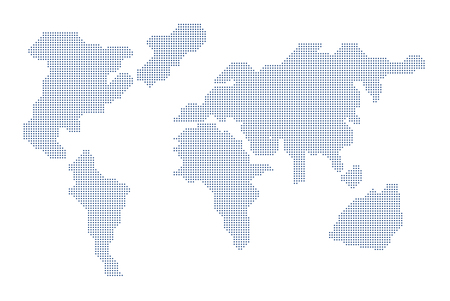 Dots world map on white background. Vector illustration of a flat style design.