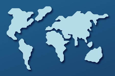 World map on a blue background with shadows in flat style. Vector illustration.