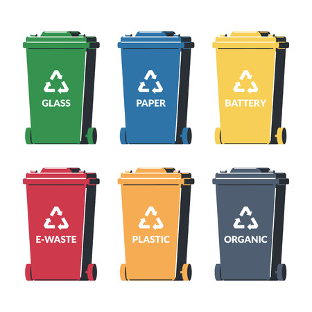Multicolored garbage cans for sorting trash with a sign of recycling. Waste. Set of icons in flat style. Vector illustration.