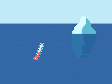 Iceberg and thermometer in the ocean. Ecological concept. Global warming on the planet. Vector illustration in flat style.