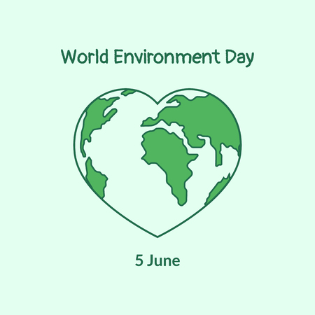 Planet Earth in the shape of a heart. Poster for the World Environment Day in flat style. Vector illustration.