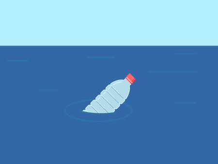 Plastic bottle floats in water. Ecological concept in flat style. Ocean pollution. Environment. Vector illustration.