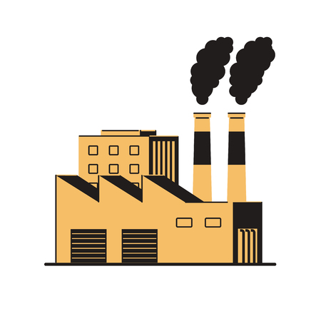 Factory with smoking pipes on a white background. Air pollution. Environmental Protection. Vector illustration in flat style. Ilustrace