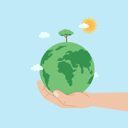 Green planet Earth in human hand. Growing tree. Ecological concept. Environmental poster. Vector illustration in flat style.
