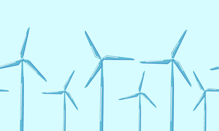 Horizontal seamless pattern wind turbines on a blue background. Alternative source of electricity. Vector illustration in flat style.