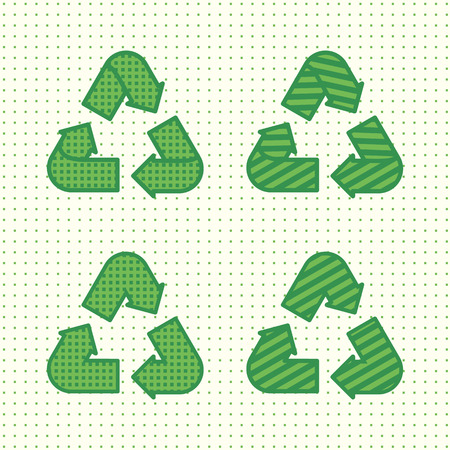 Set of recycling signs. Icons in flat style with dotted texture and lines. Ecology, environmental protection. Vector illustration.