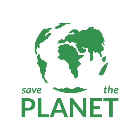 Green planet Earth on a white background. Concept save the planet. Design for poster, poster, environmental protection banner. Vector illustration. Banque d'images - 122109045