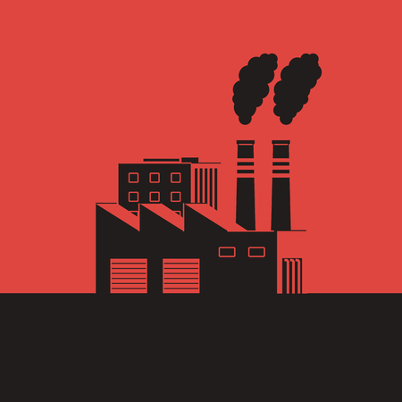Factory with smoking pipes on a red background. Air pollution concept. Environmental Protection. Vector illustration in flat style.