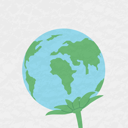 Planet Earth with leaves. Plant. The concept of environmental protection.