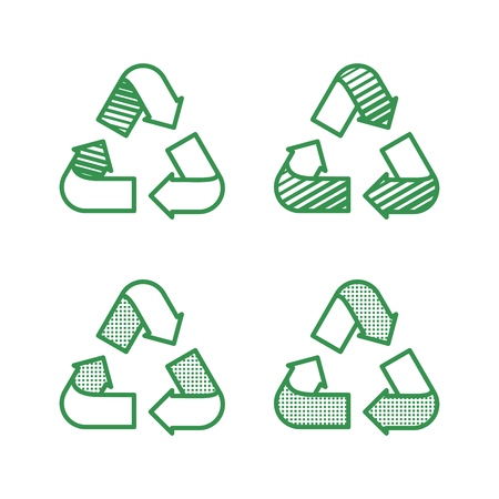 Set of recycling signs. Icons with flat style with dotted texture. Ecology, environmental protection.