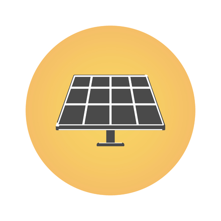 Solar panel and sun on a white background. Alternative energy. Icon in flat style.