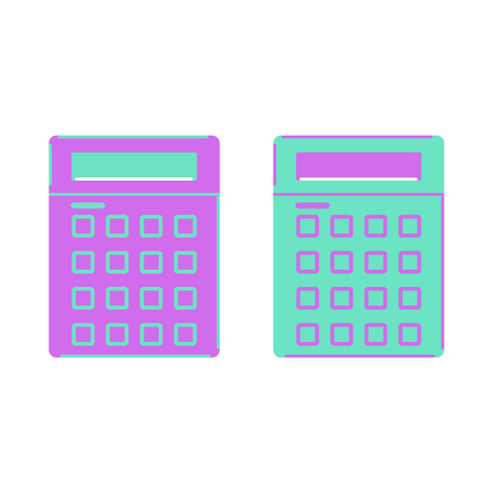 Green and purple calculator on a white background
