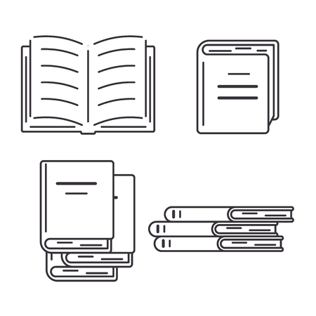 Set of icons of books in flat style. Open and closed books, stack.