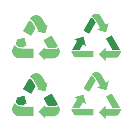 Set of recycling signs. Icons with flat style on a white background. Ecology, environmental protection. Ilustração