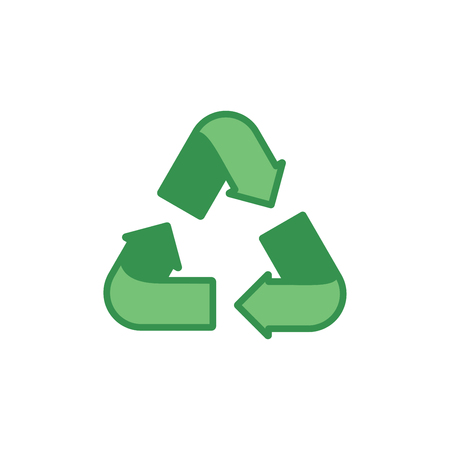 Green recycling sign on a white background. Ecology, environment. Vector illustration