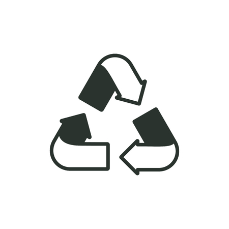 Outline black recycling sign on white background. Ecology, environment. Vector illustration
