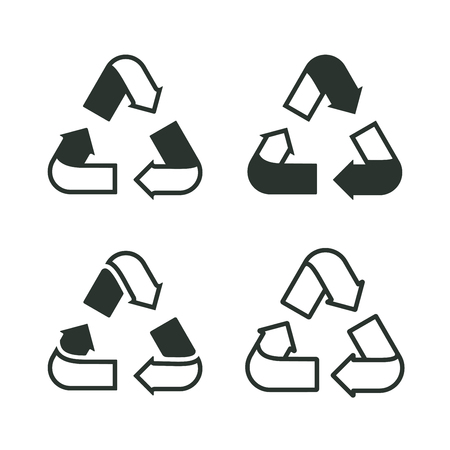 Set of recycling signs. Outline icons in flat style. Ecology, environmental protection. Ilustração