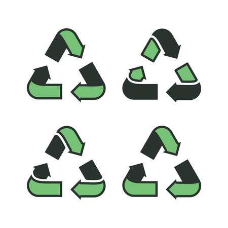 Set of recycling signs. Icons with flat style on a white background. Ecology, environmental protection. Vettoriali