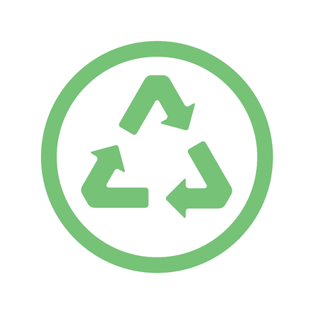 Green recycling sign on a white background. Ecology, environment.