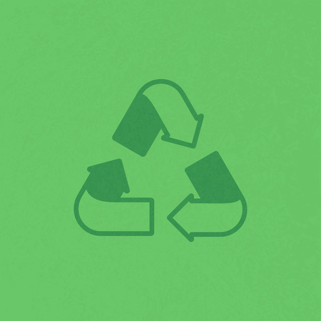 Green recycling sign on textured background. Ecology, environment. Vector illustration
