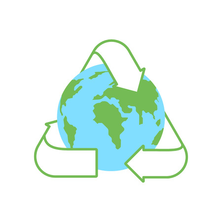Green planet Earth and a recycling sign on a white background. Environmental concept. Vector illustration in flat style.