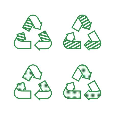 Set of recycling signs. Icons in flat style with dotted texture. Ecology, environmental protection.