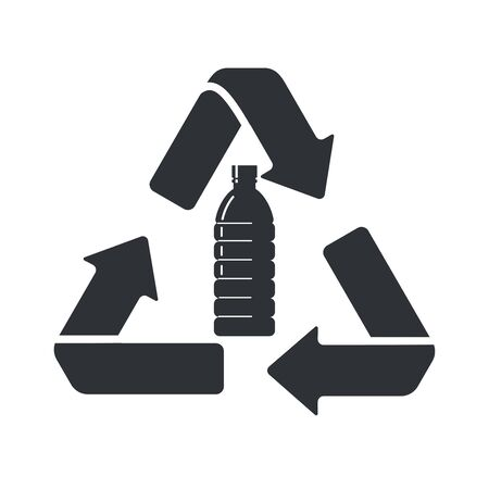 Sign recycling plastic bottles. Flat style icon. Ilustrace