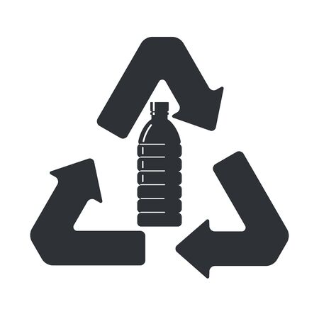 Sign recycling plastic bottles. Flat style icon. Ilustração