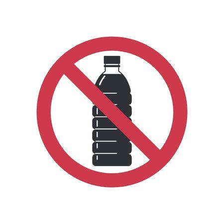 Sign no plastic. Forbidden plastic bottles. Flat style icon