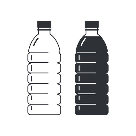 Two plastic bottles on a white background, empty and full. Flat style icons.