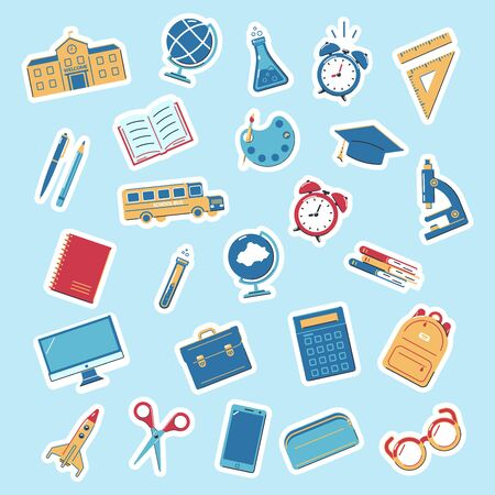 Set of stickers back to school. Educations icons on a blue background. Design for labels, banners.Vector illustration.