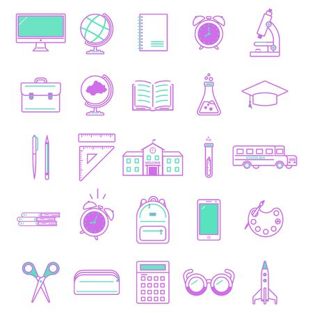 Set of outline icons for education on a white background. Back to school. Design for banner, poster, label. Vector illustration.