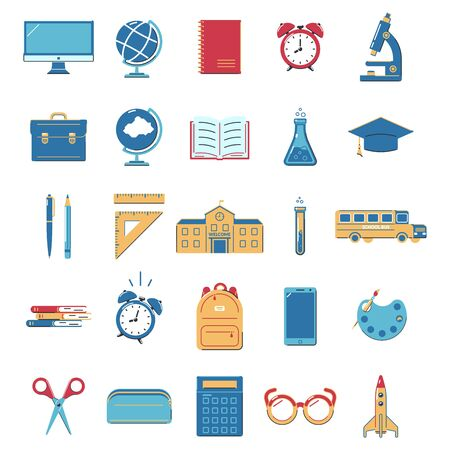 Set of icons for education on white background. Back to school.  Design for banner, poster, label. Vector illustration.