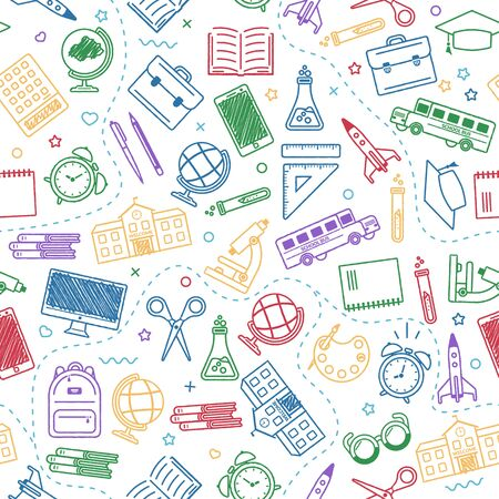 Seamless school pattern. Back to school. Coloroutline icons for education on white background. Design for posters, banners, labels. Vector illustration. Ilustração