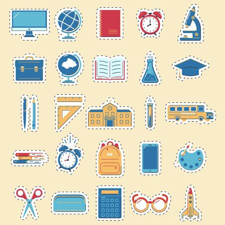 Set of stickers back to school. Educations icons on a yellow background. Design for labels, banners.Vector illustration.