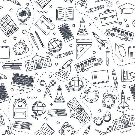 Seamless school pattern. Back to school. Black icons for education on white background. Design for posters, banners, labels. Vector illustration. Ilustração
