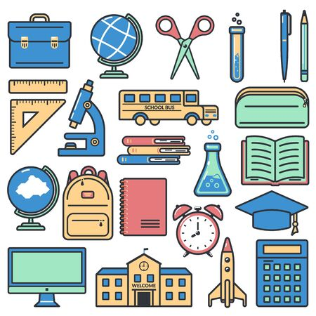 Set of icons for education on white background. Back to school. Design for banner, poster, label. Vector illustration. Stock Illustratie