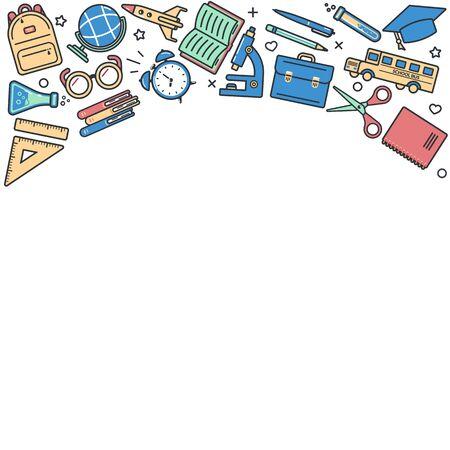 School supplies colorful icons on white background. Frame. Back to school. Vector illustration. Ilustração