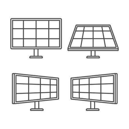 Set of solar panels on a white background. Alternative energy. Flat style icons. Vector illustration. Ilustração