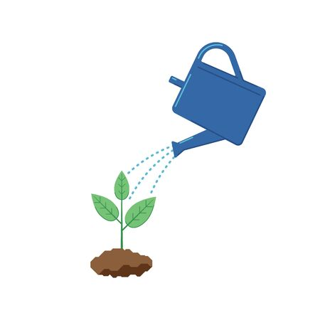 Blue watering can watering a sprout on a white background. Ilustração