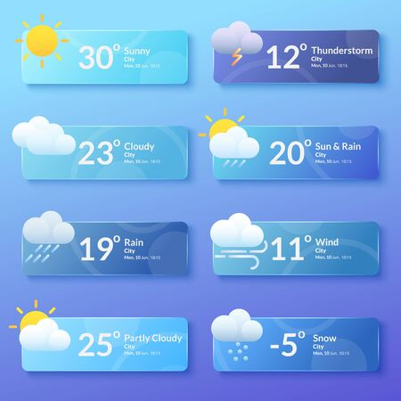 Weather forecast. Meteorology. Set of flat style banners