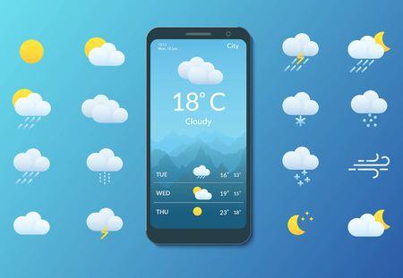 Meteorology. Smartphone with weather forecast. Set of flat style icons Ilustração