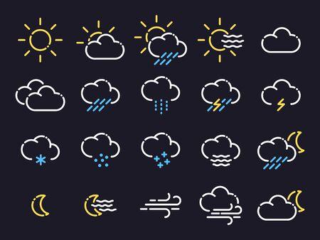 Weather forecast. Set of flat style icons