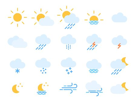 Flat style icons for the interface of mobile applications and web sites. Ilustração