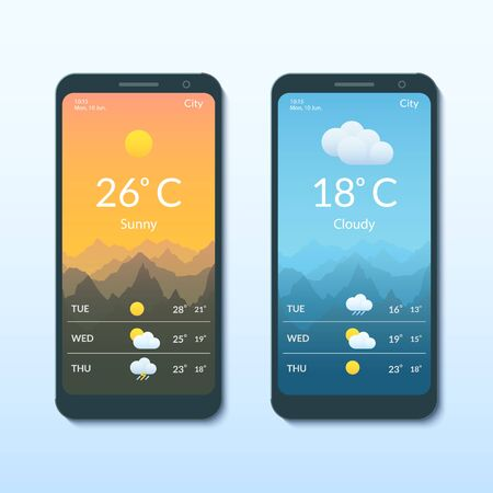 Smartphone screens with the weather forecast mobile app.
