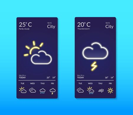 Smartphone screens with weather forecast. Neon effect.
